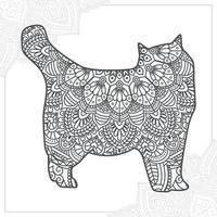 kat mandala. vintage decoratieve elementen. oosters patroon, vectorillustratie. vector
