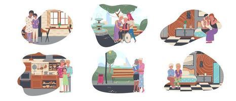 set van lgbtq plus stripfiguur met grafische bundel, geliefde en familie brengen tijd door met hun levensstijl, zoals wandelen in de tuin, in de keuken, in de woonkamer. vector