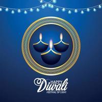 Indiase festival van gelukkige diwali uitnodiging wenskaart vector