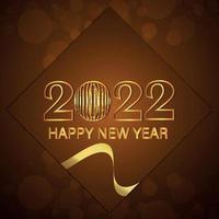 gouden teksteffect van 2022 viering wenskaart met creatieve achtergrond vector