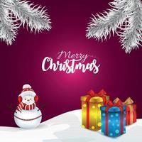 vrolijk kerstfeest vectorillustratie van geschenken en sneeuwpop vector