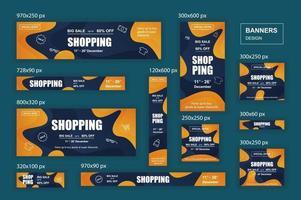 verzameling webbanners in verschillende formaten voor mobiele en sociale netwerken, posterwinkeladvertenties en marketingmateriaal vector