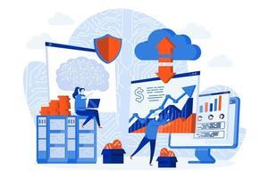cryptocurrency-technologie webconcept met personagekarakters vector