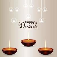 gelukkig diwali-festival van lichte achtergrond vector