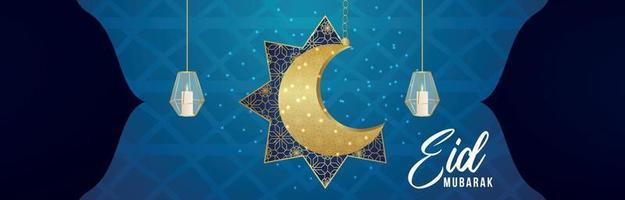 realistische eid al-fitr illustratie banner op Arabische patroonachtergrond vector