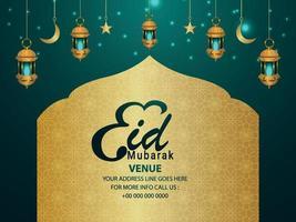 eid mubarak decoratieve achtergrond met realistische gouden lantaarns vector