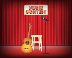 muziekwedstrijd podium met gitaar en microfoon vector