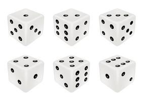 set van een witte dobbelstenen, drie dimensies vector