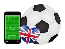 smartphone met liefde engeland voetbal voetbal vector