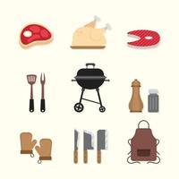 set van BBQ-pictogrammen vector