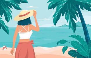 meisje genieten van uitzicht op het strand vector