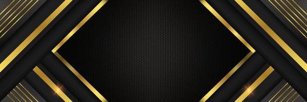 luxe zwarte en gouden achtergrond vector