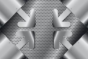 metalen achtergrond met pijlteken. vector