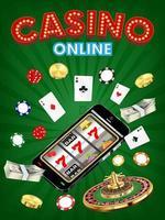 casino online smartphone met dobbelstenen, kaarten en roulette vector