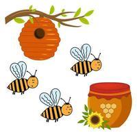 ingesteld op het thema van bijen, bijenkorf en honing in een pot vector