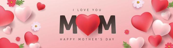 Moederdag banner achtergrond lay-out met hartvormige ballonnen en bloem. groeten en cadeautjes voor moederdag in plat lag styling. vector illustratie sjabloon.