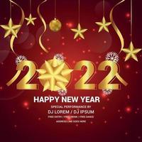 gelukkig nieuwjaarsfeest met gouden teksteffect op creatieve achtergrond vector