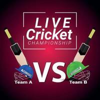 vectorillustratie van cricketwedstrijd met cricketapparatuur en cricketspeler vector