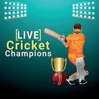 vectorillustratie cricket kampioenschap wedstrijd met cricket apparatuur en achtergrond vector