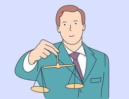 recht, justitie, notaris, werkconcept. jonge gelukkig lachende man kerel bediende manager advocaat advocaat judger aantonen schuldig gewicht. vector