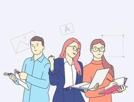 creativiteit, teamwerk, samenwerking, partnerschapsconcept. gelukkige mensen werken bij creatief ontwerpbureau kantoorconcept. vector