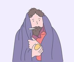 gezondheid, zorg, ziekte, verkoudheid, geneeskundeconcept. zieke man in warme kleren met thermometer, houdt citroen vector