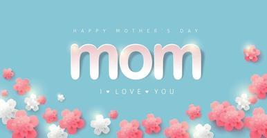 Moederdag banner achtergrond lay-out met bloem. groeten en cadeautjes voor moederdag in plat lag styling. vector illustratie sjabloon.