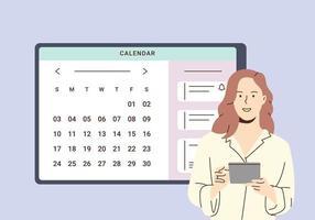 planning en online kalenderconcept. zakenvrouw plannen dagplanning afspraak in kalenderapplicatie. vrouw voegt een evenement toe, ontmoetingsherinneringen in de planningsapp. vector