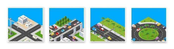 isometrische set 3D-module blok district deel van de stad met een straatweg van de stedelijke infrastructuur van vectorarchitectuur. moderne witte illustratie voor game-design en zakelijke achtergrond vector