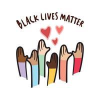 zwarte levens zijn belangrijk met liefde, met de hand getekend symbool. mensen met verschillende huidskleuren die hun hand opsteken. vector