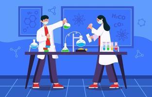 studenten die wetenschap leren bij scheikunde vector