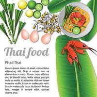 Thais heerlijk en beroemd eten gebakken noedelstokje met garnalen of pad thai met geïsoleerde witte achtergrond en ingrediënt vector