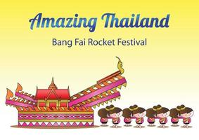 bang fai rocket festival parade vector