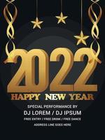 gelukkig nieuwjaar banner met realistisch gouden nummer en achtergrond vector