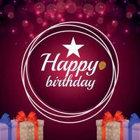 gelukkige verjaardag uitnodiging wenskaart met geschenken vector