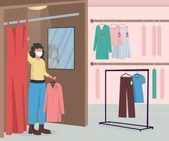 kledingwinkel tijdens epidemie egale kleur vectorillustratie vector