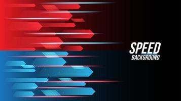 abstracte rode en blauwe achtergrondtechnologie met hoge snelheid racen voor sport vector