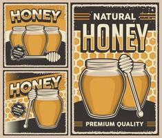retro vintage illustratie vector afbeelding van natuurlijke honing geschikt voor houten poster of bewegwijzering