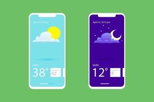 dag nacht weersvoorspelling mockupscherm voor mobiele telefoons vector