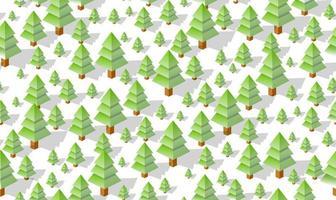 winter naadloze bos plan patroon kaart achtergrond. isometrisch groen botanisch structuurlandschap van bomenpark vector