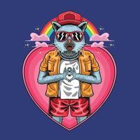 regenboog kat houdt van coole mascotte illustratie vector