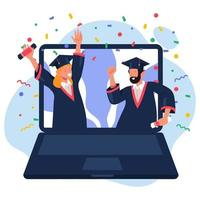 online afstuderen van studenten vector