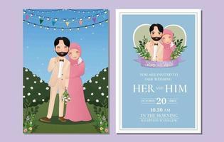 bruiloft uitnodigingskaart de bruid en bruidegom moslim paar cartoon omarmen buitenshuis met landschap mooie bloemen vol bloeien vector