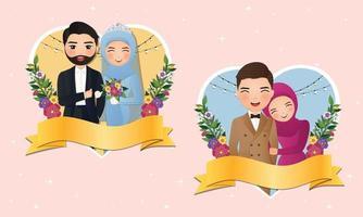 set tekens schattige moslim bruid en bruidegom vreugde in de liefde vector