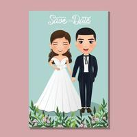 bruiloft uitnodigingskaart de bruid en bruidegom schattige paar stripfiguur. vector illustratie.