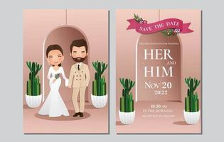 bruiloft uitnodigingskaart de bruid en bruidegom schattige paar stripfiguur met groene cactus en lichtroze achtergrond. vector illustratie