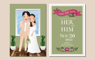 bruiloft uitnodigingskaart de bruid en bruidegom schattige paar stripfiguur. vector illustratie
