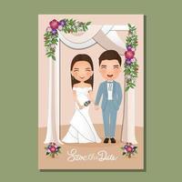 bruiloft uitnodigingskaart de bruid en bruidegom schattige paar cartoon onder de boog versierd met bloemen. vector
