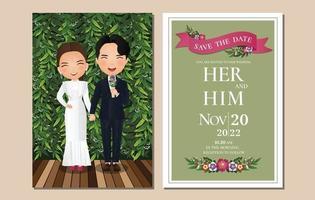 bruiloft uitnodigingskaart de bruid en bruidegom schattige paar stripfiguur met groene bladeren achtergrond. vector illustratie