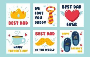 schattige handgetekende vaderdag kaartenset vector